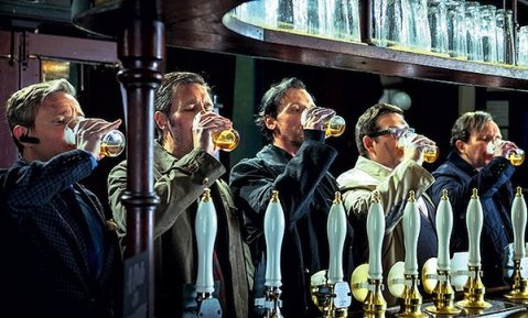 The Worlds End having a drink