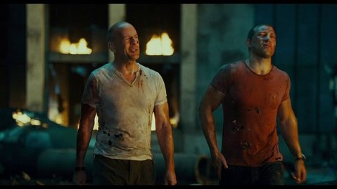 A Good Day To Die Hard - Bruce Willis and Jai Courtney War Torn